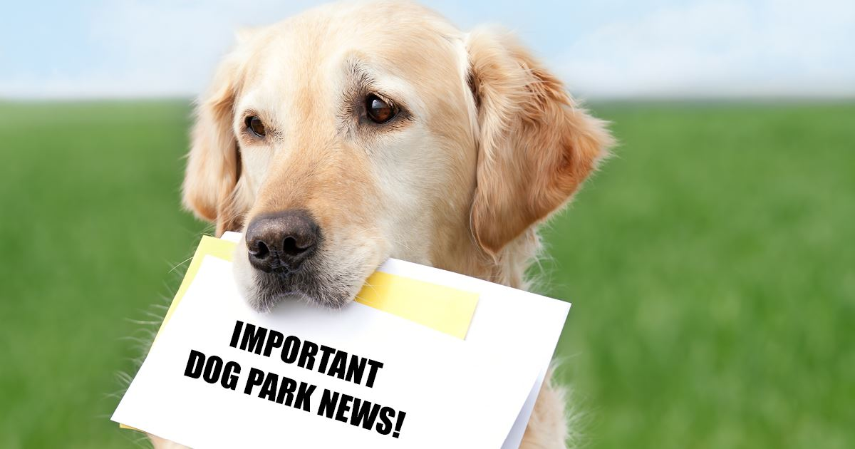 Important Dog Park News  photo of dog holding sign